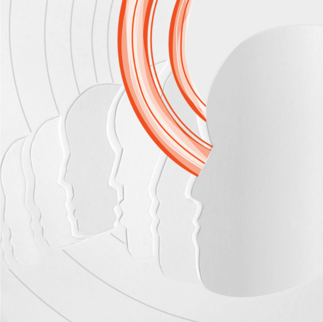 white outlines of blank faces with orange curved lines