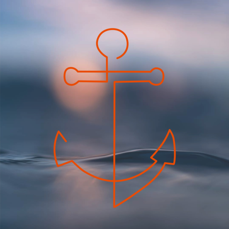 Orange outline of an anchor with a water ripple in the background