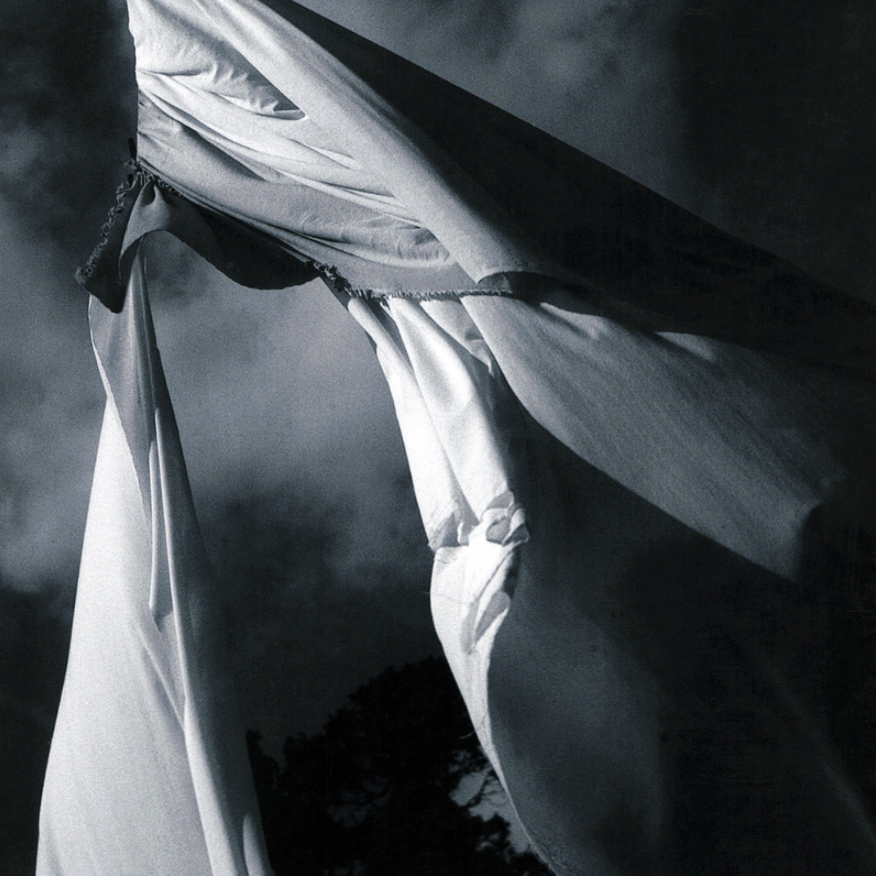 Black and White image of a white cloth hanging and torn down the middle
