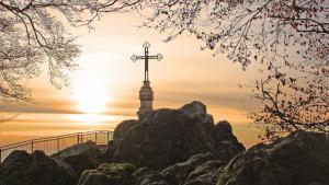 Cross in landscape scene